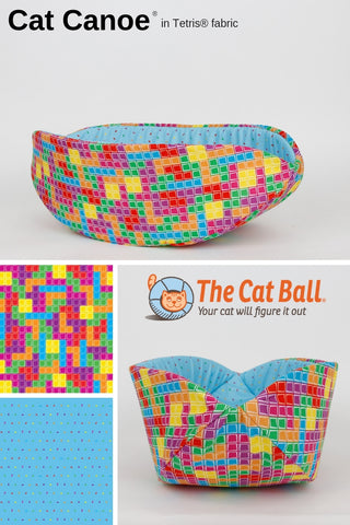 The Cat Canoe is a modern cat bed, made here in colorful TETRIS fabrics