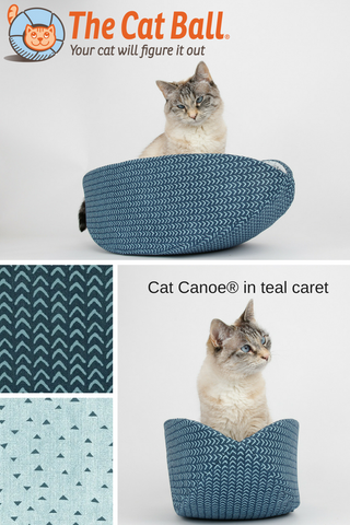The Cat Canoe is a modern cat bed, made here in a rich teal color with a coordinating lining. These fabrics are 100% cotton. Our washable pet bed is made in the US and fits cats and small dogs