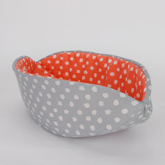 Cat Canoe modern cat bed in grey and coral fabrics