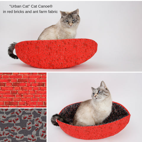 Cat Canoe made in red brick wall fabric with ant farm lining