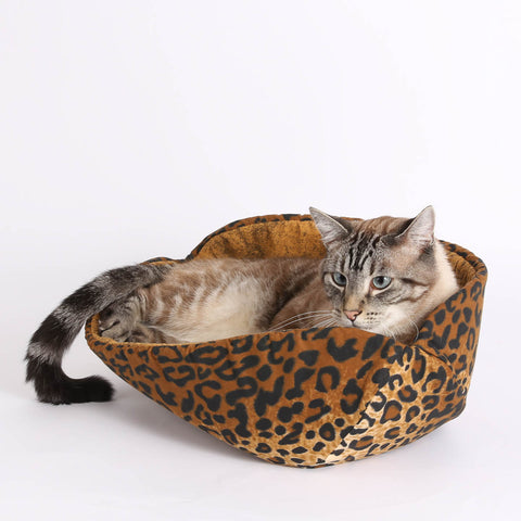 The CAT CANOE open style cat bed made in cotton leopard fabric