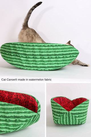 The watermelon Cat Canoe is a funny modern cat bed that looks like a slice of fruit. Made out of cotton fabric