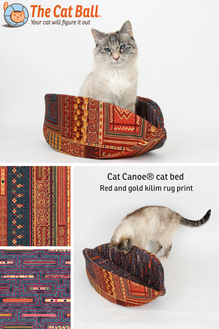 The Cat Canoe is a modern cat bed, made in very detailed 100% cotton fabrics that look like a kilim or Persian rug.