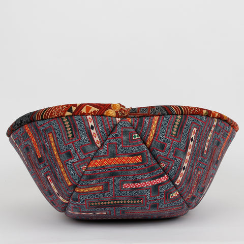 Cat Canoe modern cat bed made in red and gold kilim print