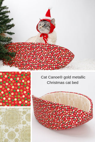 Planning to take Christmas pictures of your cat? Our red and gold metallic Christmas fabric Cat Canoe® is a holiday themed cat bed that will look great under the Christmas tree, and is a great prop for cute cat photos. Our pet bed is made in the USA, fits cats and small dogs, and is washable.