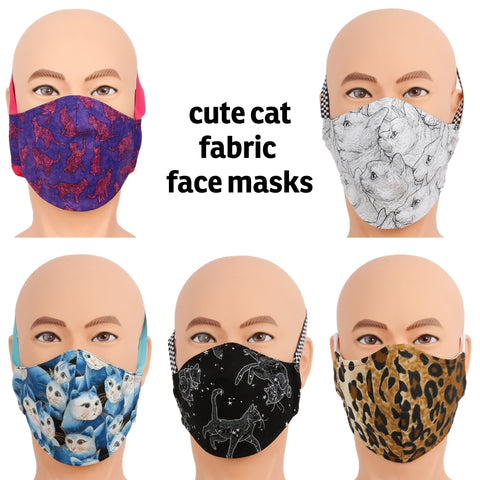 We have face masks made in cute cat fabrics!  There are two styles and all of the masks are only available in the size/fabric as shown. The masks are made with three layers of high quality woven cotton fabrics and have a filter pocket. Made in the USA by The Cat Ball, LLC.