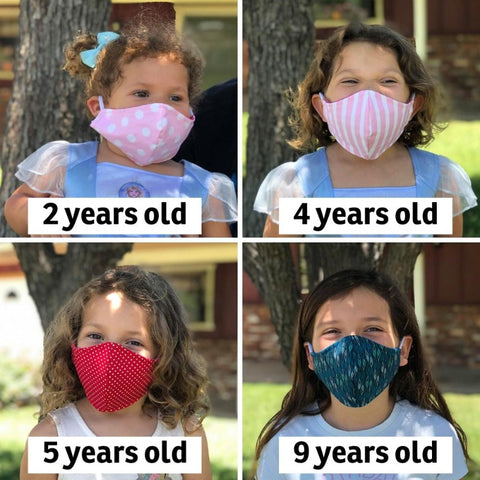 Our child size face mask fits kids from about 4 years old to about 10 years old. Made in the USA by The Cat Ball, LLC