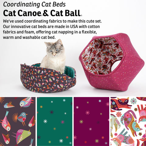 Cat Ball and Cat Canoe modern cat beds made in cute coordinating cotton fabrics