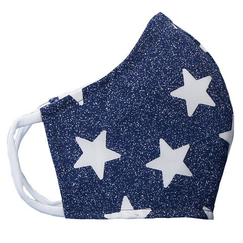 Fabric: Blue/White Stars -  - Size medium for pre-teens to petite adults - Face mask made with three layers of woven fabrics and soft, stretchy cotton/Lycra ear loops. Made in USA by the Cat Ball, LLC.