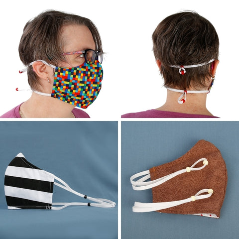 This face mask has adjustable elastic bands that go behind the head so you don't need to use your ears. This style can be more comfortable to wear, especially if you use glasses or hearing aids or if your ears don't work with earloops.