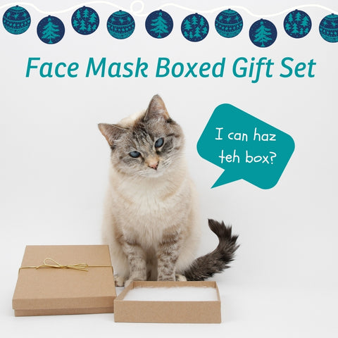 We think that face masks may be the best gift to give this year, and are offering easy pre-selected sets of two size Large masks, presented in a gift box. You can request different color combinations or sizes.