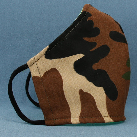 Fabric: Camo  Our size small face mask is for kids about 4 - 10 years old. They are made with three layers of woven quilting cottons and have soft ear loops made of stretchy cotton/Lycra fabric. Made in USA in the State of Washington by The Cat Ball, LLC