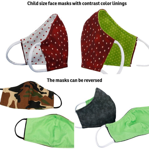 Size small face masks for kids 4 - 10 years old. Face masks made with three layers of woven cotton quilting fabrics and soft, stretchy cotton/Lycra ear loops that we find more comfortable than elastic. Made in USA by the Cat Ball, LLC.
