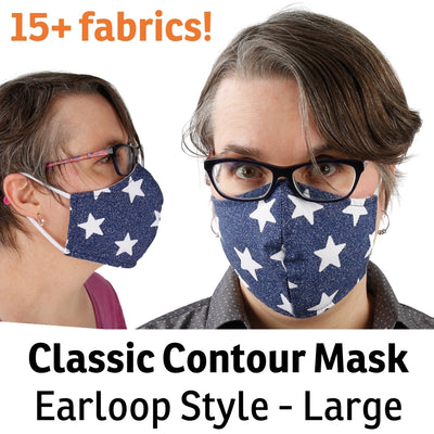 Washable cotton face mask in adult size large, with filter pocket, made in USA by The Cat Ball, LLC
