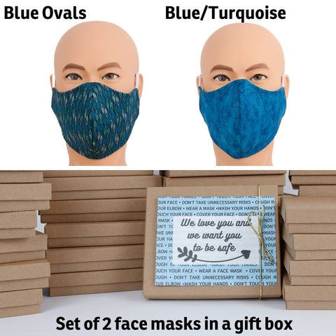 Face mask gift set  of two size large masks, in Blue Ovals and Blue/Turquoise