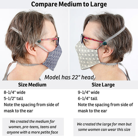 What size face mask do you need? Use these photos to compare our size large and size medium face masks. As you can see, the size large may work on some women, notice how the gap between mask and ears decreases on size large.