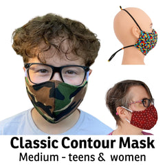 Our medium size face mask is for pre-teens, teens and women. The boy in this photo is 13 years old. Choose betheen the classic ear loop wearing style or our behind the head elastics, a great option if you use glasses or hearing aids.