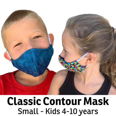 Our size small face mask is for kids about 4-10 years old. We make these with soft cotton/Lycra ear loops, but can replace the loops with adjustable behind the head elastic bands at your request. Our face masks are made in the USA in the state of Washington.