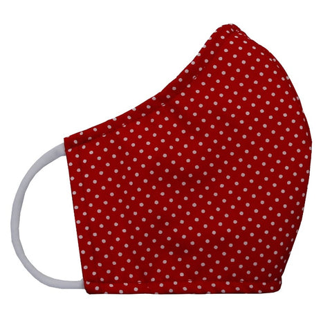 Fabric: Mini dots in white/red - Size medium face mask for pre-teens to petite adults - Face mask made with three layers of woven fabrics and soft, stretchy cotton/Lycra ear loops. Made in USA by the Cat Ball, LLC.