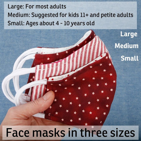 Compare sizes between our small, medium and large size face masks