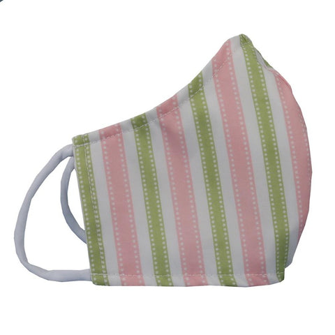 Fabric: Pink/green stripes - Size medium face mask for pre-teens to petite adults, this is the size to get if you are a small woman - Face mask made with three layers of woven fabrics and soft, stretchy cotton/Lycra ear loops. Made in USA by the Cat Ball, LLC.