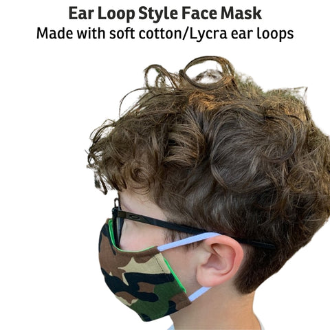 Our Ear Loop style face masks are made with soft cotton/Lycra fabric, not elastic. This thin fabric is stretchy, tends to roll up, and seems to be more durable than elastic.