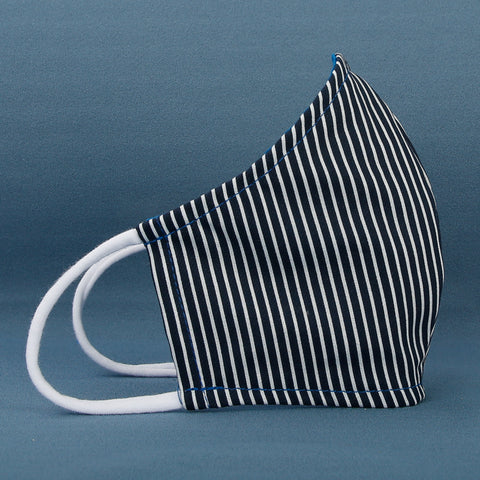Color: Stripe - Navy/White -  Washable cotton face mask with filter pocket, made in USA by The Cat Ball, LLC