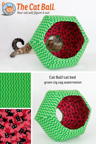 We've used a green zig zag fabric to create the look of a watermelon for this Cat Ball® cat bed. Our designer cat cave is a pod style pet bed with two openings, used by cats and small dogs to about 18 pounds.