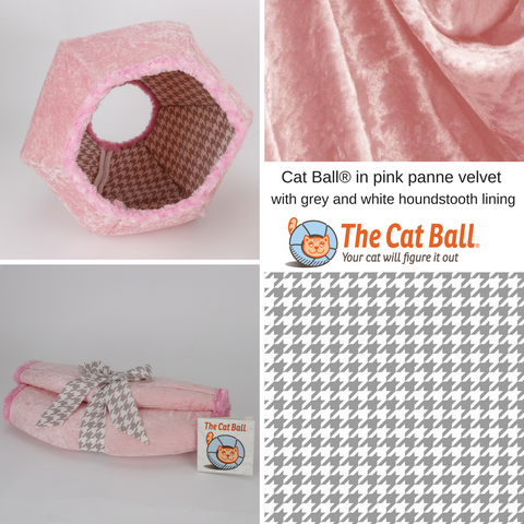 The Cat Ball is a modern cat bed, made in baby pink velvet, with fur trimmed openings and lined with a grey and white cotton  houndstooth fabric. This pod style cat bed is made in the USA