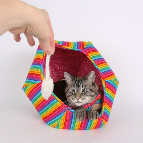 Rainbow stripes Cat Ball®cat bed for Nyan Cat or to show your pet pride.