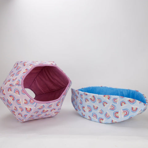 Coordinating CAT BALL and CAT CANOE pet beds made in cute rainbow fabrics