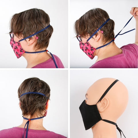 The headband is a strip of grosgrain ribbon that is adjusted with a sliding bead. This ribbon can be attached to the hair with a barrette or pins, and can also be replaced with a strip of fabric from a t-shirt, a leather shoelace or elastic.
