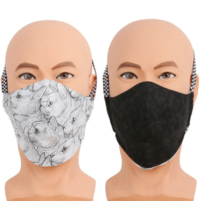 Reversible face mask in a black and white cats fabric. Triple layer cotton fabric mask with filter pocket and nose wire. Adjustable behind the head band to keep the pressure off of your ears, or adjustable ear loops. Made in USA.