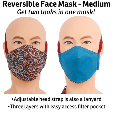 Get two different looks in one face mask! Our nose dart style face mask is reversible, has a fully adjustable headband, and is a style that can work well if you wear glasses or hearing aids. The headband acts like a lanyard when you take the mask off. This face mask is made with three layers of woven quilting cotton fabric, has a filter pocket and a channel to hold a nose wire. Made in USA by The Cat Ball, LLC