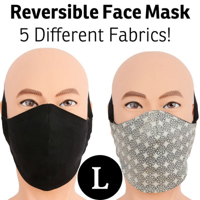 Our reversible face mask offers two looks in one mask.  The adjustable head band wraps around the back of your head and does not use your ears. Many fabrics available, made in USA.