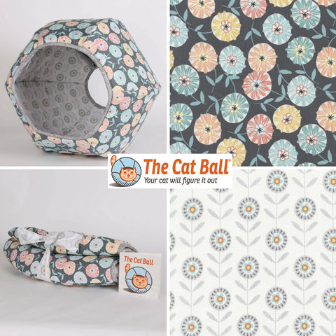 The Cat Ball cat bed is a hexagonal cat bed with two openings