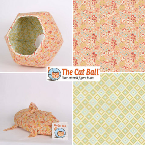 Geometric and Flower Woodlands Cat Ball cat bed