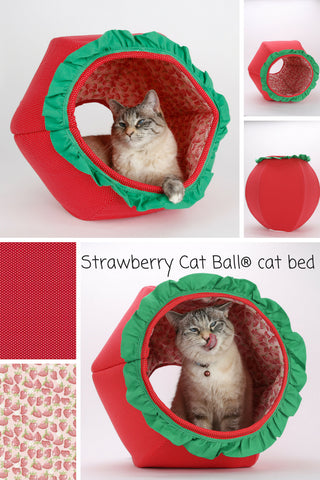 This novelty Cat Ball® cat bed looks like a strawberry. Our cute fruit pet bed is a cotton fabric cat cave that allows your cat a private  place to sleep. Our hexagonal Cat Ball® cat bed has two openings. Made in USA