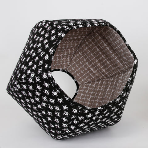 Cat Ball cat bed in skull and crossbones fabric with grey anchor lining