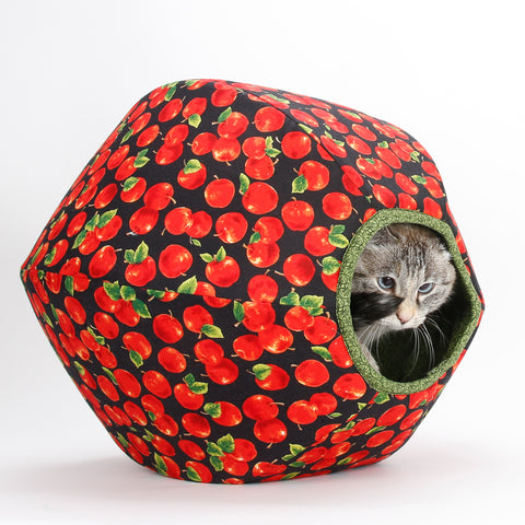 This cute Cat Ball cat bed is made in a fabric printed with apples