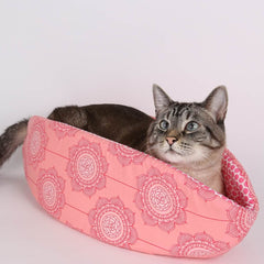 The Cat Canoe in Pink Flower from the Cottage Wallpaper Collection