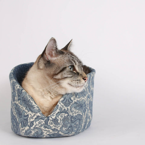 The Cat Canoe a Modern Cat Bed in Ivory and Blue Paisley Fabric