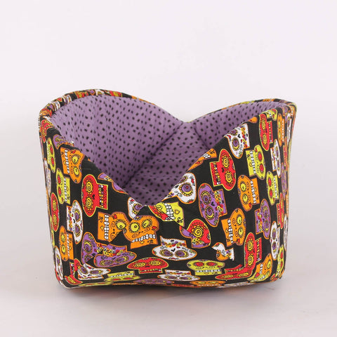 Cat Canoe Modern Cat Bed in Sugar Skulls and Spiders
