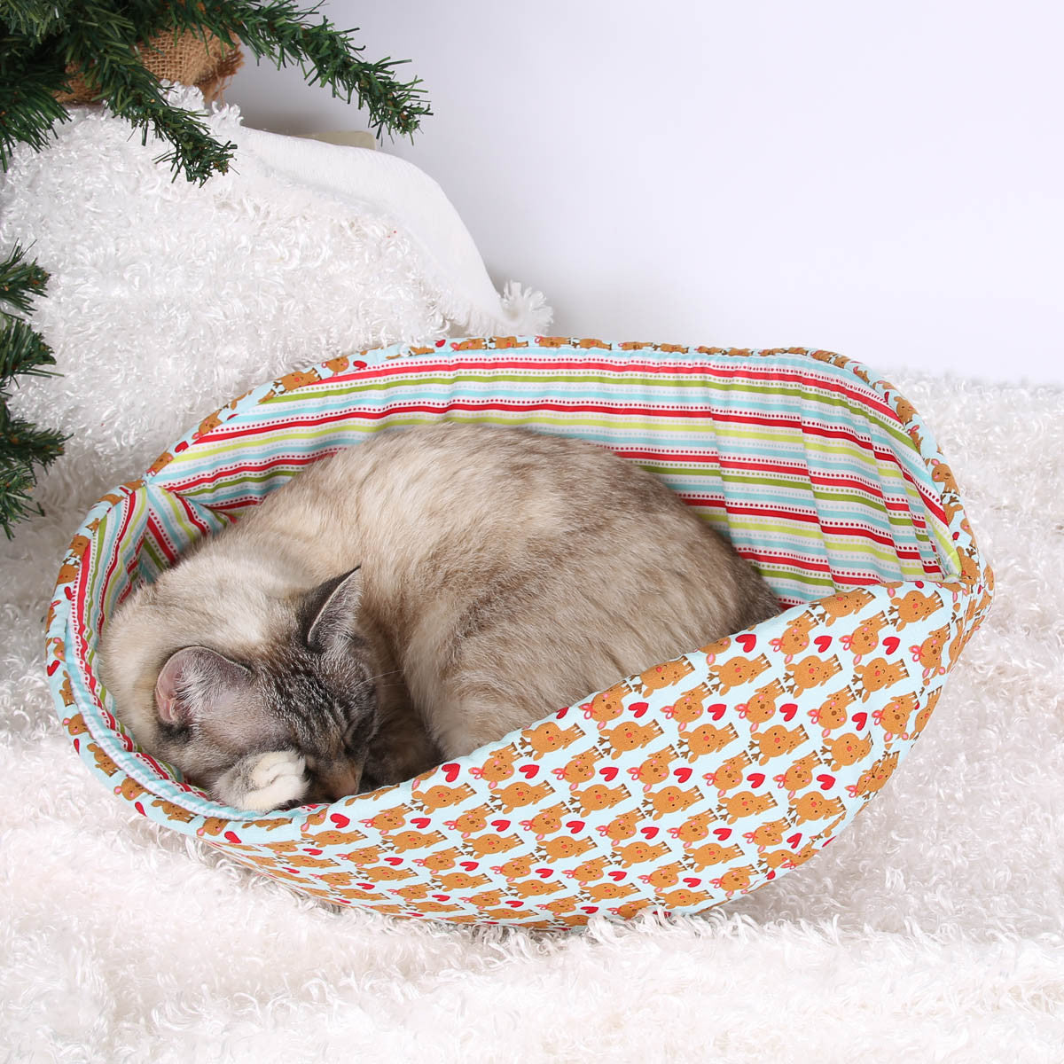 ... Cat Canoe Modern Cat Bed Made In Christmas Calico And Reindeer Fabric  ...