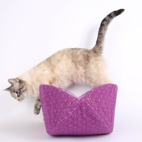 Purple Geometric Flowers Cat Canoe a Modern Cat Bed