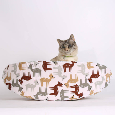 Cat Canoe modern pet bed made in cute deer fabric
