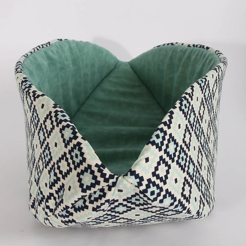 Cat Canoe a Modern Pet Bed in Navy Geometric Cotton Fabric