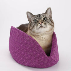 Cat Canoe modern cat bed made in Purple Geometric Flower cotton fabric