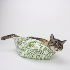 Cat Canoe modern cat bed in avocado green and autumn colors