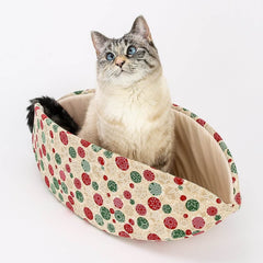 Neutral Colors Christmas cat bed design - Snowflake Fabric Cat Bed in - the Cat Canoe